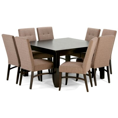 Ezra 9 Piece Dining Set Chair Color: Fawn Brown