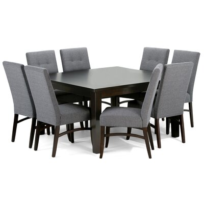 Ezra 9 Piece Dining Set Upholstery: Slate Gray