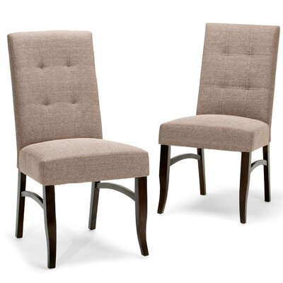 Ezra Deluxe Upholstered Dining Chair Upholstery Color: Fawn Brown