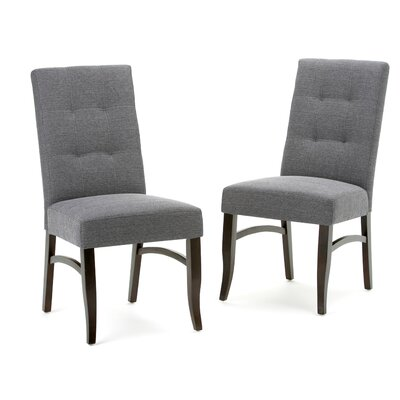 Ezra Deluxe Upholstered Dining Chair Upholstery Color: Slate Gray