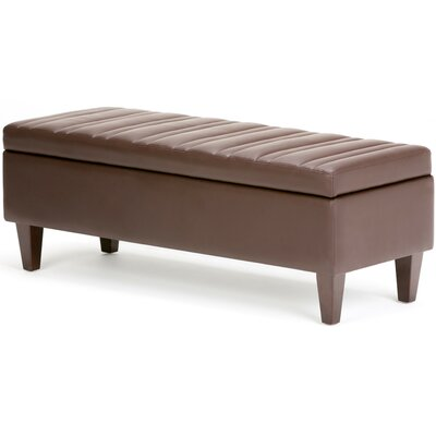 Monroe Rectangular Storage Ottoman Upholstery Color: Chocolate Brown