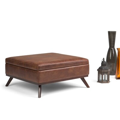 Owen Storage Ottoman Upholstery: Saddle Brown