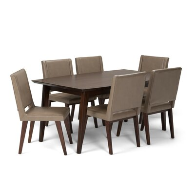 Draper Mid Century 7 Piece Dining Set Color: Ash Blonde