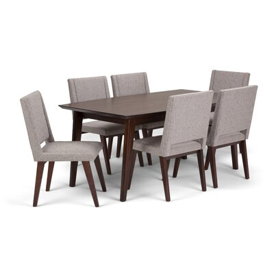 Draper Mid Century 7 Piece Dining Set Color: Gray