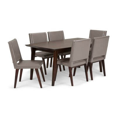 Draper Mid Century 7 Piece Dining Set Color: Taupe