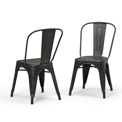 Fletcher Metal Dining Chair Color: Distressed Black/Copper