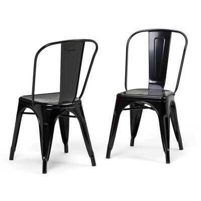 Fletcher Metal Dining Chair Color: Black