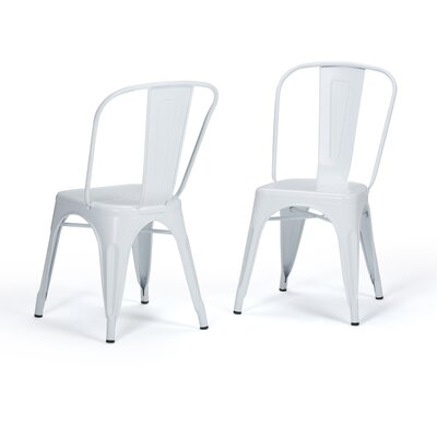 Fletcher Metal Dining Chair Color: White