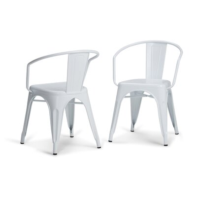 Larkin Metal Dining Chair Color: White