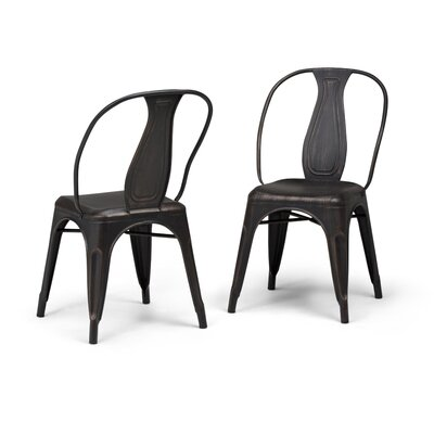 Merritt Metal Dining Chair Color: Black/Copper
