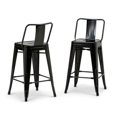 Rayne Metal 24 Bar Stool Color: Black