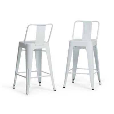 Rayne Metal 24 Bar Stool Color: White