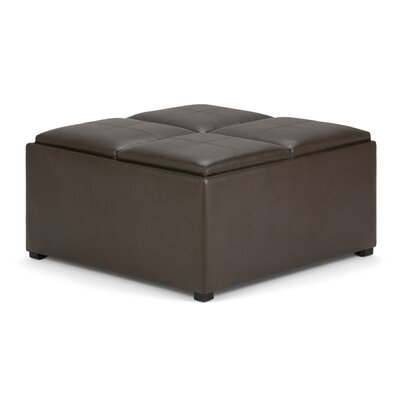 Avalon Storage Ottoman with 4 Serving Tray Upholstery: Chocolate Brown
