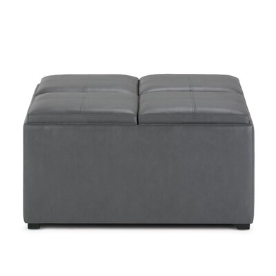 Avalon Storage Ottoman with 4 Serving Tray Upholstery: Stone Gray