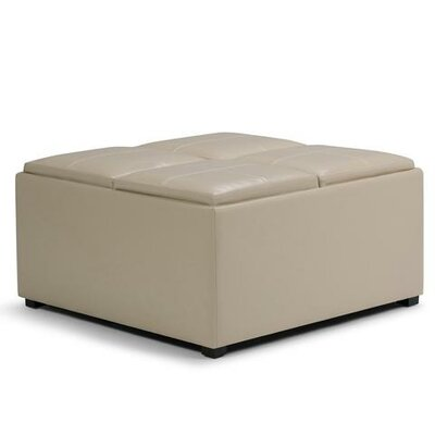 Avalon Storage Ottoman Upholstery: Faux Leather  Satin Cream