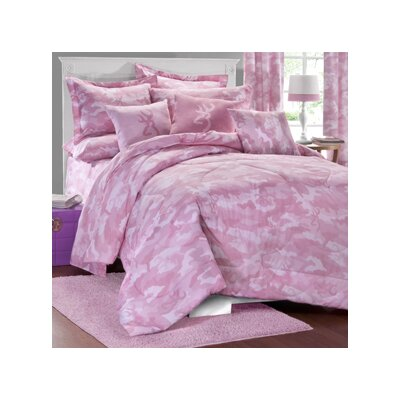 Buckmark Camo Comforter Set Color: Pink, Size: Queen