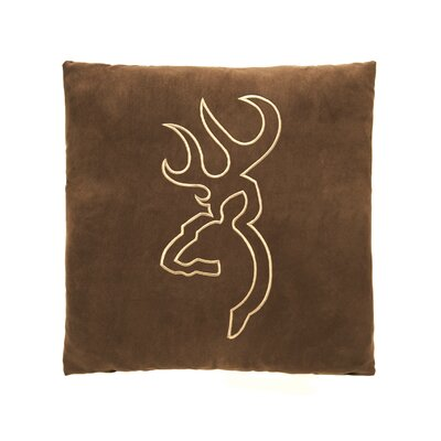 Buckmark Embroidered Throw Pillow Color: Brown