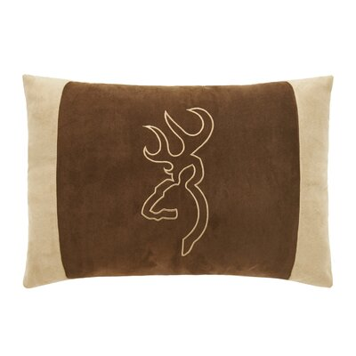 Buckmark Embroidered Throw Pillow Color: Beige/Brown