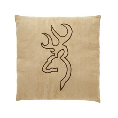 Buckmark Embroidered Throw Pillow Color: Beige