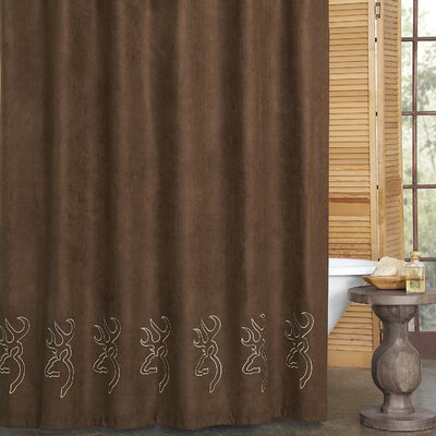 Buckmark Embroidered Suede Shower Curtain