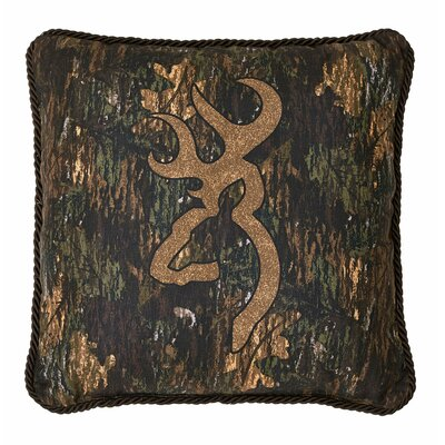 3D Buckmark Cotton Throw Pillow Size: 18 H x 18 W