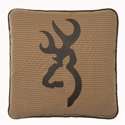 Buckmark Cotton Throw Pillow Color: Tan
