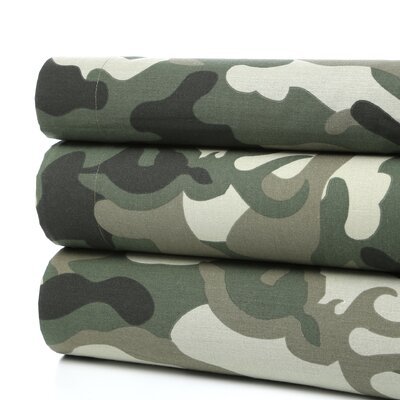 Buckmark Camo Sheet Set Size: Full, Color: Green