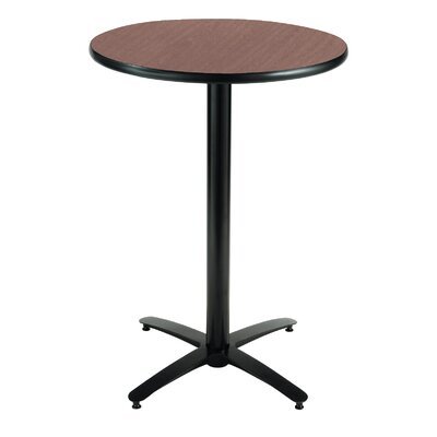 Round Pedestal Table with Arched X Base Top Finish: Walnut, Size: 42 H x 36 W x 36 D