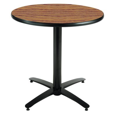 Round Pedestal Table with Arched X Base Top Finish: Medium Oak, Size: 42 H x 42 W x 42 D