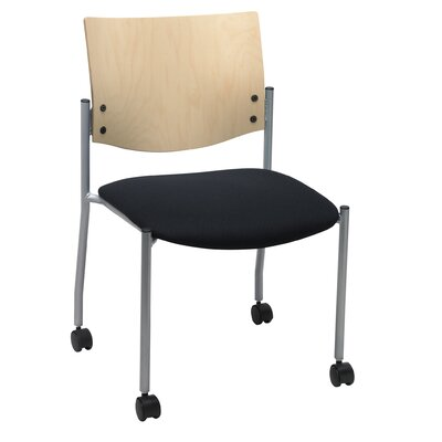 Evolve Armless Guest Chair Seat Finish: Black, Frame Finish: Natural