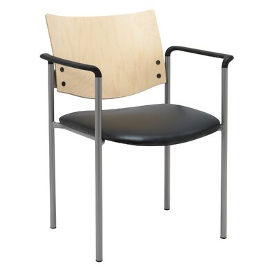 Evolve Guest Chair Frame Finish: Natural, Seat Finish: Black Vinyl