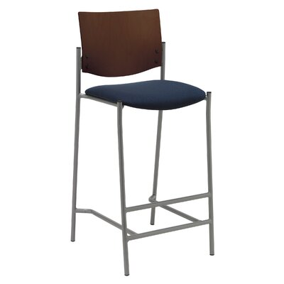 Evolve 25 inch Bar Stool Upholstery: Burgundy, Finish: Natural