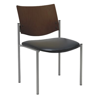 Evolve Armless Guest Chair Seat Finish: Black Vinyl, Frame Finish: Chocolate