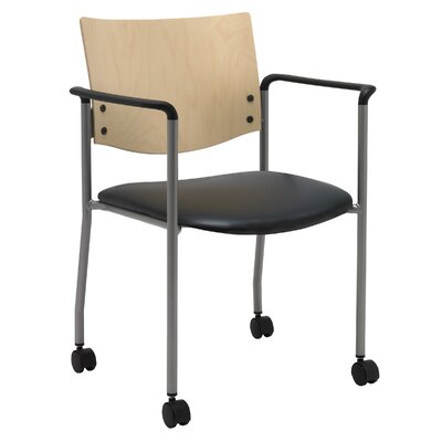 Evolve Guest Chair Seat Finish: Black Vinyl, Frame Finish: Natural