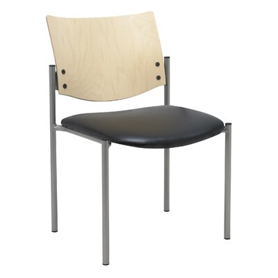 Evolve Armless Guest Chair Seat Finish: Black Vinyl, Frame Finish: Natural