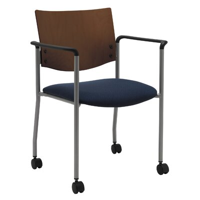Evolve Guest Chair Seat Finish: Navy Vinyl, Frame Finish: Natural