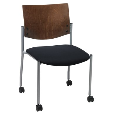 Evolve Armless Guest Chair Frame Finish: Natural, Seat Finish: Navy Vinyl