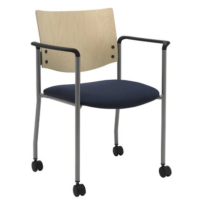 Evolve Guest Chair Seat Finish: Navy, Frame Finish: Natural