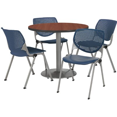 Round Cafeteria Table and Chair Set Size: 36 W x 36 D, Seat Color: Navy