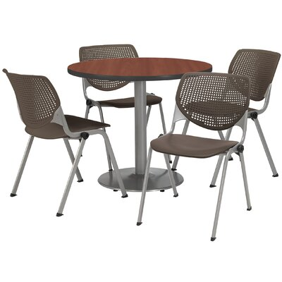 Round Cafeteria Table and Chair Set Size: 42 W x 42 D, Seat Color: Brownstone