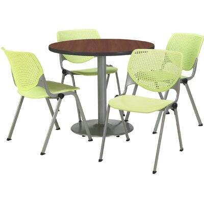 Round Cafeteria Table and Chair Set Size: 42 W x 42 D, Seat Color: Lime