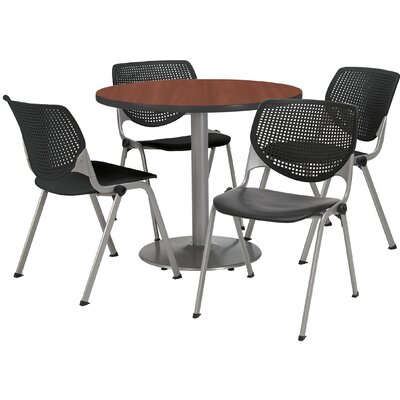 Round Cafeteria Table and Chair Set Seat Color: Light Grey, Size: 36 W x 36 D