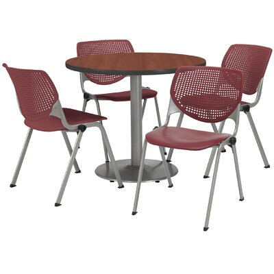 Round Cafeteria Table and Chair Set Size: 36 W x 36 D, Seat Color: Burgundy