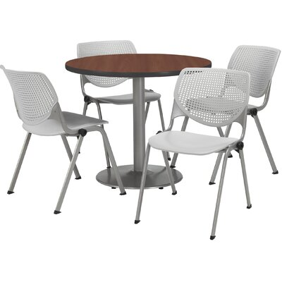 Round Cafeteria Table and Chair Set Size: 42 W x 42 D, Seat Color: Light Grey
