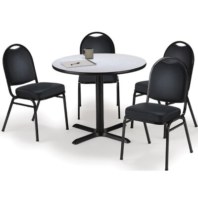 Round Cafeteria Table and Chair Set Tabletop Color: Medium Oak, Seat Color: Navy, Size: 36 W x 36 D