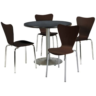 Round Cafeteria Table and Chairs Set Seat Color: Natural, Tabletop Color: Graphite Nebula, Size: 42 W x 42 D