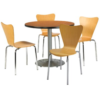 Round Cafeteria Table and Chairs Set Size: 36 W x 36 D, Seat Color: Espresso, Tabletop Color: Medium Oak