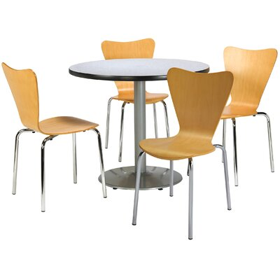 Round Cafeteria Table and Chairs Set Tabletop Color: Grey Nebula, Seat Color: Espresso, Size: 42 W x 42 D