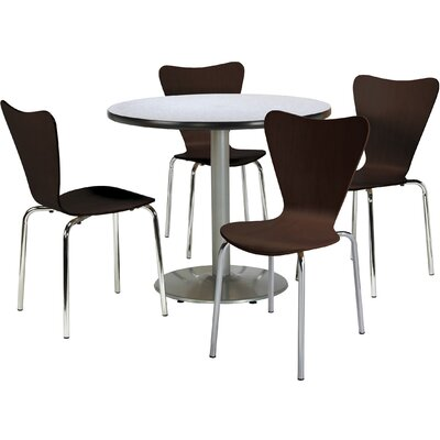 Round Cafeteria Table and Chairs Set Tabletop Color: Grey Nebula, Seat Color: Natural, Size: 42 W x 42 D