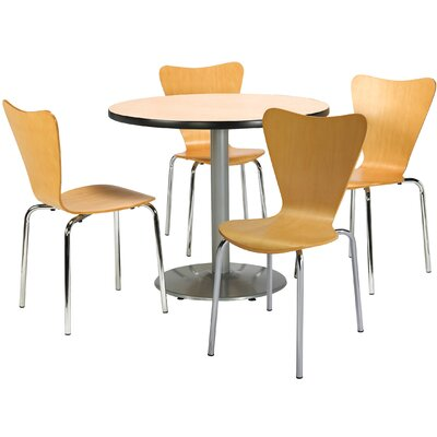 Round Cafeteria Table and Chairs Set Seat Color: Espresso, Tabletop Color: Natural, Size: 42 W x 42 D